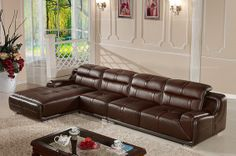 Caesar Palace Modern Leather Corner Sofa(1+3+right chaise) - MelodyHome.com