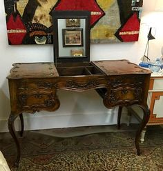 """Antique French 19th Century Louis XV Style Vanity On Sale   Was $1575 Sale Price $1275  42"""" Wide x 19"""" Deep x 30"""" High   #86007  Rick's Antiques and Home Decor, Dealer #36  White Elephant A"""