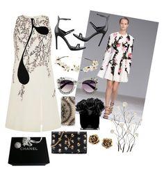 """Flower dress"" by mercantichiara on Polyvore featuring moda, Giambattista Valli, Kendall + Kylie, Universal Lighting and Decor, Cult Gaia, Hervé Gambs, Casetify, Tiffany & Co., Chanel e Yves Saint Laurent"