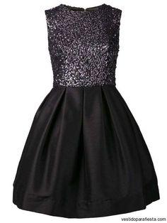 Vestidos juveniles cortos acinturados color negro – 36
