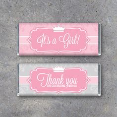 "PRINCESS Baby Shower Candy Bar Wrappers – Printable Instant Download – ""It's a Girl!"" & ""Thank You for celebrating with us"" – Party Favors by Studio120Underground on Etsy https://www.etsy.com/listing/214041190/princess-baby-shower-candy-bar-wrappers"