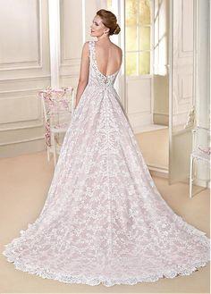 Fabulous Lace & Satin V-Neck A-line Wedding Dresses