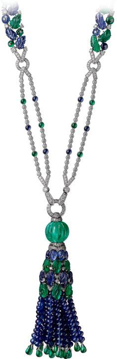 Collier Haute Joaillerie Platine, émeraudes, saphirs, diamants