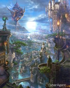 The Art Of Animation, Kazumasa Uchio. The Art Of Animation, Kazumasa Uchio. Fantasy City, Fantasy Castle, Fantasy Places, Fantasy Kunst, Sci Fi Fantasy, Fantasy World, Fantasy Village, High Fantasy, Fantasy Artwork