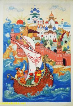 Constantin Bokarev, Russia: Tale of Tsar Sultan by Pushkin, 1961 (Palekh) Russian Folk Art, Fairytale Art, Cute Illustration, Vintage Art, Fairy Tales, Art Photography, Drawings, Artwork, Painting