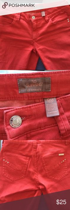 Chico's So Slimming red 00 jeans Only worn a couple of times. Little signs of wear. Size equal to about a regular 6. Inseam is 26. Metal Details on pockets. Chico's Jeans Ankle & Cropped