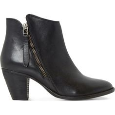 DUNE Penny leather ankle boots (6,655 DOP) ❤ liked on Polyvore featuring shoes, boots, ankle booties, leather cowgirl boots, leather bootie, short boots, leather boots and short cowgirl boots