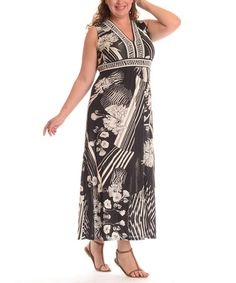 This Black Floral Empire-Waist Maxi Dress - Plus by Shoreline is perfect! #zulilyfinds