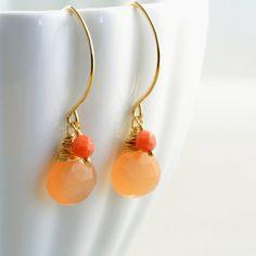 RESERVED For June - Peach Moonstone Earrings Gold Handmade, Coral, Orange