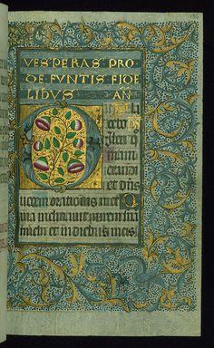 Almugavar Hours, Decorative border and incipit with floral motifs and birds, Walters Manuscript W.420, fol. 136r