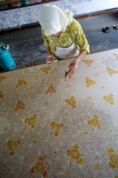intricately detailed Indonesian batik pattern: wax has been used for centuries in the treatment of textiles however I'm using it to dictate form.