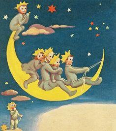 Projek Satu Dunia (One World Project)™: Martta Wendelin Sun Moon Stars, Sun And Stars, Moon Images, Look At The Moon, Paper Moon, Postcard Art, Good Night Moon, Star Children, Moon Art