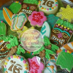 Sweet 16 Luau cookies #frostedseductions