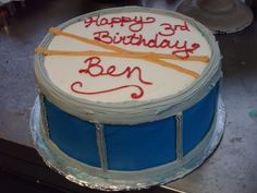 drum cake- this one is even the right year for the right kid!