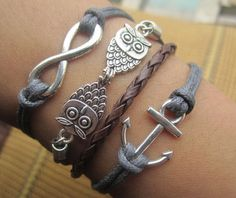 Bracelet--antique silver double owl 8 infinite anchor bracelet & double wax string chain. $6.99, via Etsy.