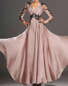 Pink prom dress chiffon illusion long sleeve v neck maxi dress for Backless Maxi Dresses, V Neck Prom Dresses, Maxi Robes, Pink Prom Dresses, Pink Maxi, Dresses Dresses, Trendy Dresses, Party Dresses, Fashion Dresses