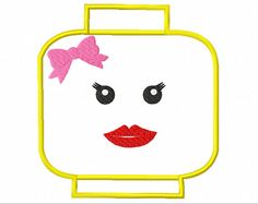 Well Hello  Lady Lego Head APPLIQUE Machine by TedandFriends