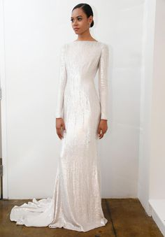 Pamella Roland shimmery sheath long sleeve wedding dress from Spring 2016