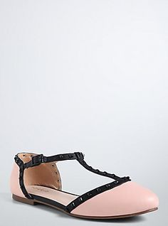 Studded D'orsay Flats (Wide Width), PINK