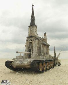 "Agree or Disagree? 🤔🤔 - ""Every true artist is at war with the world."" ― Anthony Kiedis - Church Tank by Kris Kuksi Modern Church, 3d Fantasy, Photocollage, Church Design, Christian Memes, Panzer, Burning Man, Missouri, Funny Jokes"
