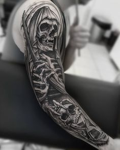 Day 2 / Grim Reaper long sleeve # bwmentalität and white and gray Evil Skull Tattoo, Evil Tattoos, Skull Sleeve Tattoos, Grim Reaper Tattoo, Forearm Sleeve Tattoos, Skull Tattoo Design, Best Sleeve Tattoos, Badass Tattoos, Sleeve Tattoos For Women