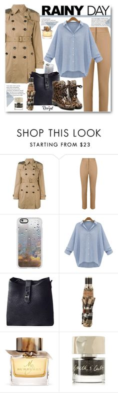 """""""Rainy Day Street Style"""" by beebeely-look ❤ liked on Polyvore featuring Burberry, Andrea Marques, Casetify, Smith & Cult, rainyday, trenchcoat, rainydaystyle and rosegal"""