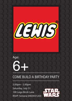 simple lego invite, love that it looks like a lego box