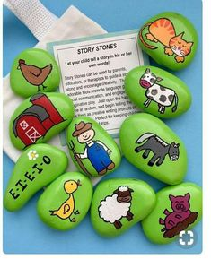 Rock Painting Ideas Discover Old MacDonald Had a Farm Story Stones Early Literacy Tool Nursery Rhymes Reading Teacher Gift Christmas gift Gift for Kids Story rocks Pebble Painting, Pebble Art, Stone Painting, Rock Painting, Story Stones, Teacher Christmas Gifts, Teacher Gifts, Christmas Cards, Deco Ethnic Chic