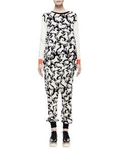 -64MP Stella McCartney  Long-Sleeve Horse-Print Sweater, Milk/Black Horse-Print Silk Harem Pants, Black