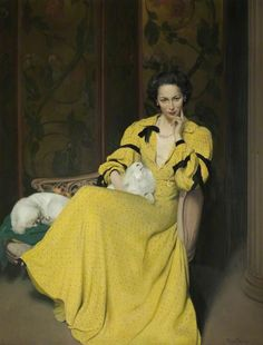 Pauline in the Yellow Dress by Herbert James Gunn ||   ~ I love this.  The arch expression and those little dogs...~ More about this painting and this dress here: http://www.culture24.org.uk/art/art48927