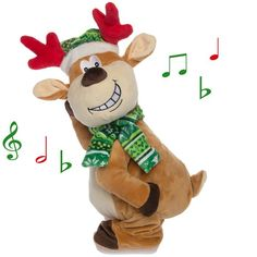 "Spread some cheeky joy this Christmas. This Reindeer wiggles & twerks his rear to ""Sexy And I Know It"". For a crazy office & holiday party Christmas gift.  #gift #plushie #reindeer #afflink"