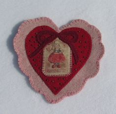 Wool Applique' SAMPLE Charming Hearts by betsyloupatterns on Etsy