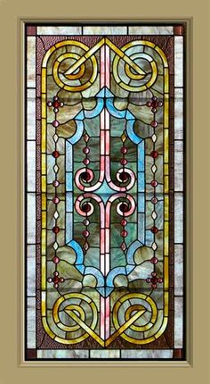 Victorian Stained Glass - Circa: 1895 -  This window design flows throughout. What is significant about this window is the strong array of harmoniously hued opalescent and striated-glass. America made the world's greatest opalescent glass ever during this brief period. The green glass in the central field is very attractive.