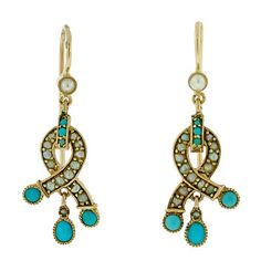 Victorian 14k Gold, Persian Turquoise And Seed Pearl Earrings   c.1880