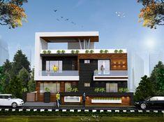 Modern Bungalow Exterior, Modern Exterior House Designs, Modern House Facades, Modern Bungalow House, Modern House Design, Modern Houses, Duplex House Plans, Bungalow House Design, House Front Design