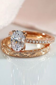 rose gold wedding rings oval cut solitaire pave band