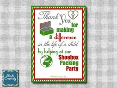 Send these Thank You notes to your friends and family members who helped you in your recent Operation Christmas Child Shoebox Packing Party! See the Digital Shoebox Packing Party Thank You by MadeCreatively on Etsy Christmas Shoebox, Kids Christmas, Custom Invitations, Party Invitations, Operation Shoebox, Operation Christmas Child Shoebox, Samaritan's Purse, Shoebox Ideas, Simple Gifts