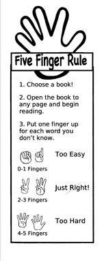 I remember this from elementary school! Five Finger rule book mark. Make into a bulletin board! Google Image Result for http://pabook.libraries.psu.edu/familylit/LessonPlan/alligator/Five%2520Finger%2520Rule%2520Bookmark1.jpg