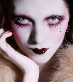 The makeup range ILLAMASQUA developped by Make-up artist Alex Box is inspired by film and theater dramatic look. The brand is available in. Makeup Fx, Runway Makeup, Doll Makeup, Fairy Makeup, Costume Makeup, Beauty Makeup, Doll Costume, Clown Makeup, Circus Makeup
