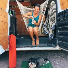 The inspiration for our hammock chair from our friends who we've been caravanning with for months now. Nearing that point of separation anxiety as we head towards the border together! Van Dwelling, Caddy Maxi, Tiny Trailers, Mobile Living, Cool Campers, Hammock Chair, Outdoor Life, Campervan, Van Life