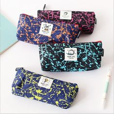 """Music Life"" 1pc Canvas Pencil Bag Study Pencil Case Zip Stationery Pocket Purse #Unbranded"
