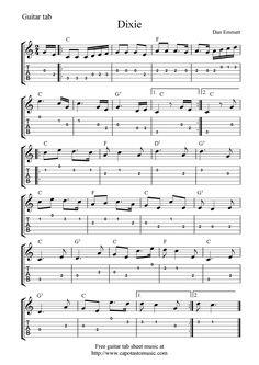 Guitar Music Sheets for Beginners | Free guitar tab sheet music, Dixie
