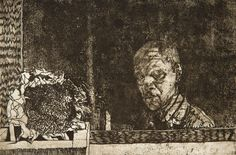 """""""Self Portrait in an Antique Mirror."""" Etching, 6 x 9 in. Graphic Artwork, Art, Painting"""