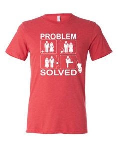 X-Large Light Red Adult Problem Solved Groom Bachelor Party Marriage Divorce Couple Funny Triblend Short Sleeve T-Shirt
