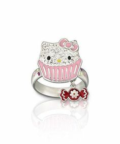 Hello kitty cupcake ring with candy charm silver