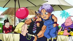 trunks x marron, trunks ,marron and goten playing.