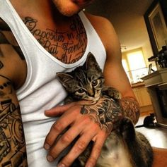Inked men and their cats