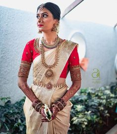 Check out this brand for the latest bridal silk saree blouse designs for weddings and festivals. Kerala Saree, Kerala Wedding Saree, Pattu Sarees Wedding, Kerala Bride, Wedding Sari, Wedding Hijab, Punjabi Wedding, Wedding Bride, Wedding Reception
