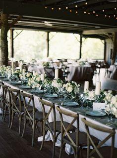 Rustic + elegant barn wedding tablescape: http://www.stylemepretty.com/2015/11/06/rustic-elegance-at-camp-yonahnoka/ | Photography: Clark Brewer - http://www.clarkbrewerphotography.com/