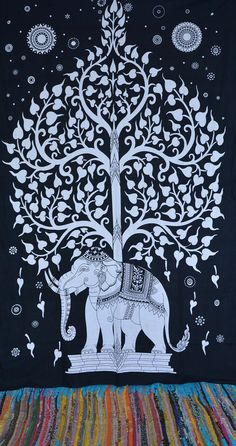 Beautiful Screen printed Elephant tree of life tapestry Wall hanging Tapestries ,This is a art of Culture of India.This beautiful Gorgeous design of